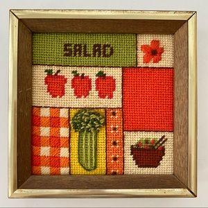 Vintage 1970's Needlepoint Salad Kitchen Framed